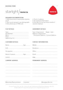 Starlight Booking Form 01